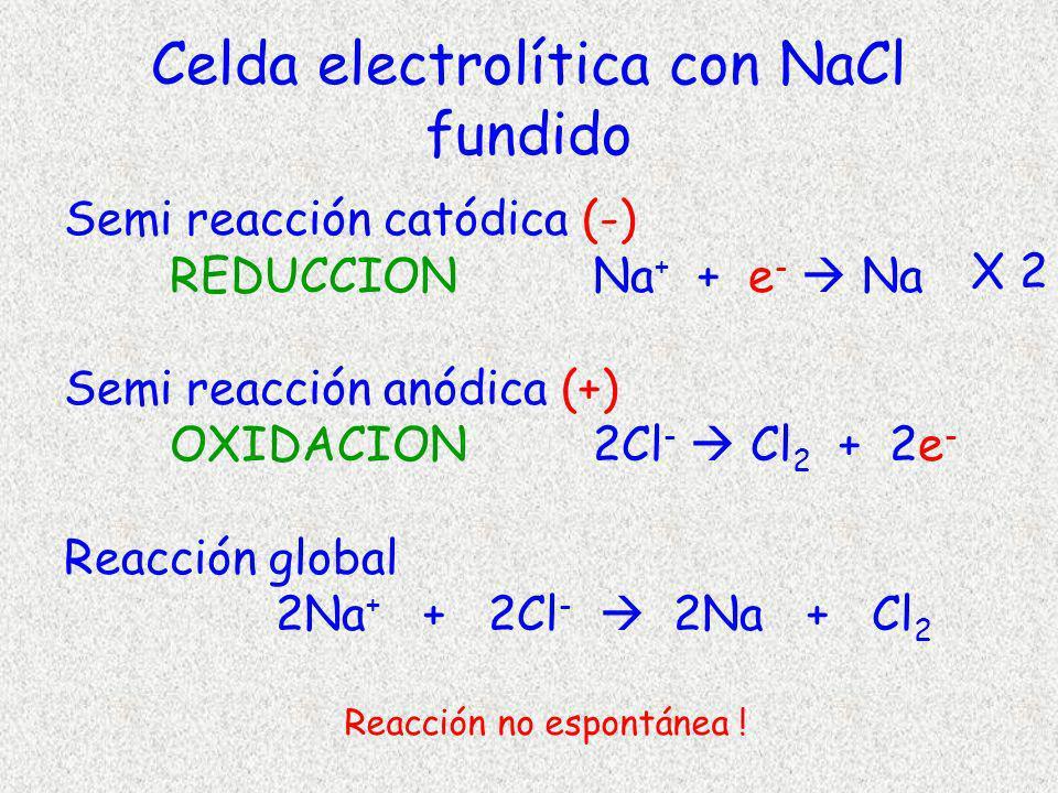 Celda electrolítica con NaCl fundido Semi reacción catódica (-) REDUCCION Na + + e - Na Semi reacción anódica (+) OXIDACION2Cl - Cl 2 + 2e - Reacción