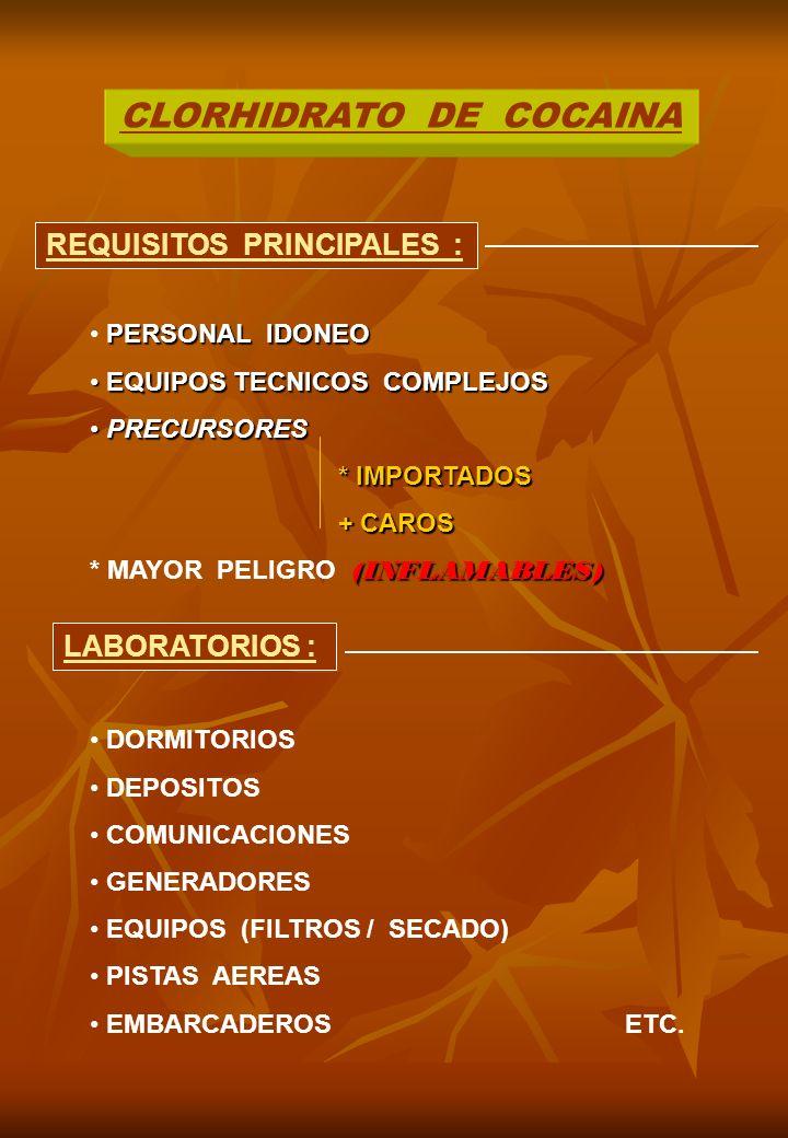 CLORHIDRATO DE COCAINA REQUISITOS PRINCIPALES : LABORATORIOS : PERSONAL IDONEO EQUIPOS TECNICOS COMPLEJOS EQUIPOS TECNICOS COMPLEJOS PRECURSORES PRECURSORES * IMPORTADOS + CAROS + CAROS (INFLAMABLES) * MAYOR PELIGRO (INFLAMABLES) DORMITORIOS DEPOSITOS COMUNICACIONES GENERADORES EQUIPOS (FILTROS / SECADO) PISTAS AEREAS EMBARCADEROS ETC.