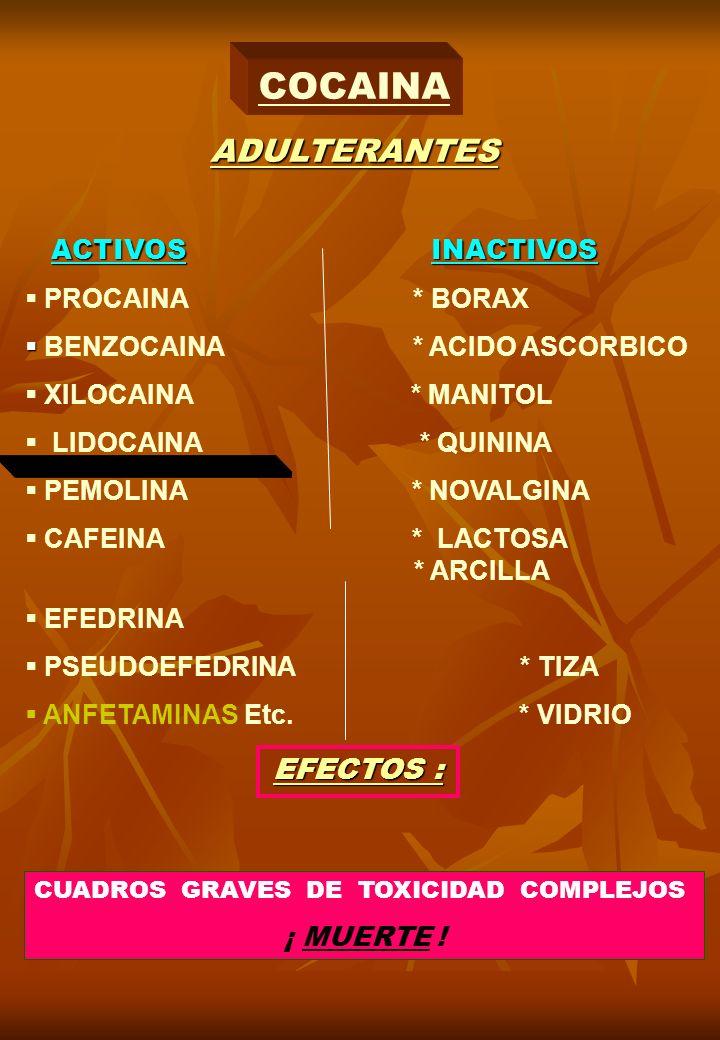 COCAINA ADULTERANTES ACTIVOS INACTIVOS PROCAINA * BORAX BENZOCAINA * ACIDO ASCORBICO XILOCAINA * MANITOL LIDOCAINA * QUININA PEMOLINA * NOVALGINA CAFE