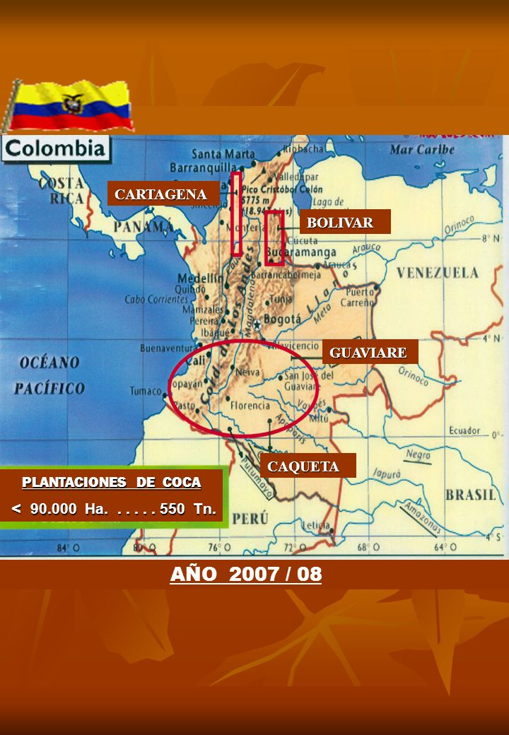 GUAVIARE BOLIVAR CARTAGENA CAQUETA AÑO 2007 / 08 PLANTACIONES DE COCA < 90.000 Ha...... 550 Tn. < 90.000 Ha...... 550 Tn.
