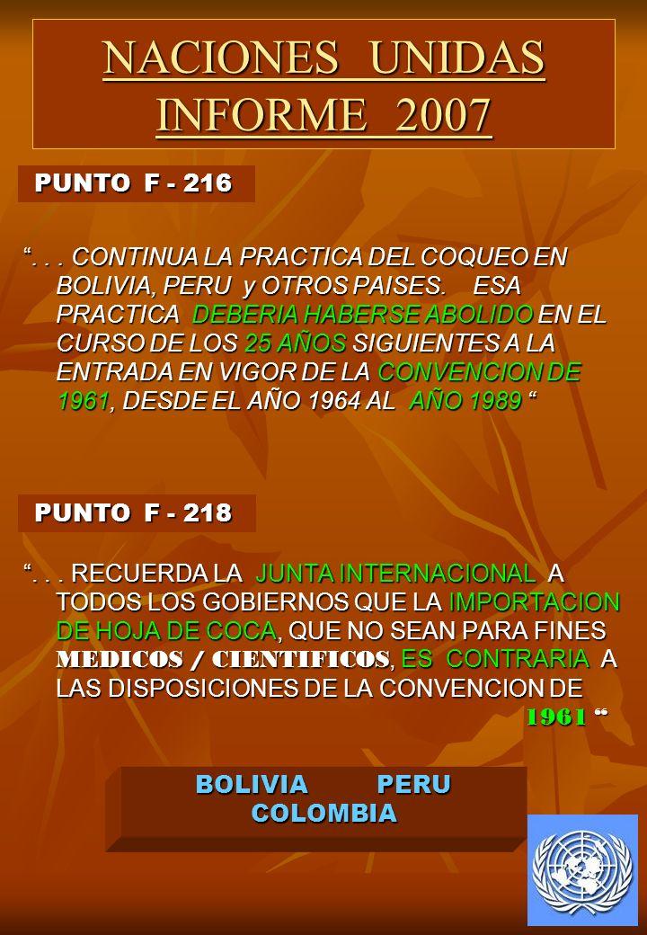 ... CONTINUA LA PRACTICA DEL COQUEO EN BOLIVIA, PERU y OTROS PAISES. ESA PRACTICA DEBERIA HABERSE ABOLIDO EN EL CURSO DE LOS 25 AÑOS SIGUIENTES A LA E