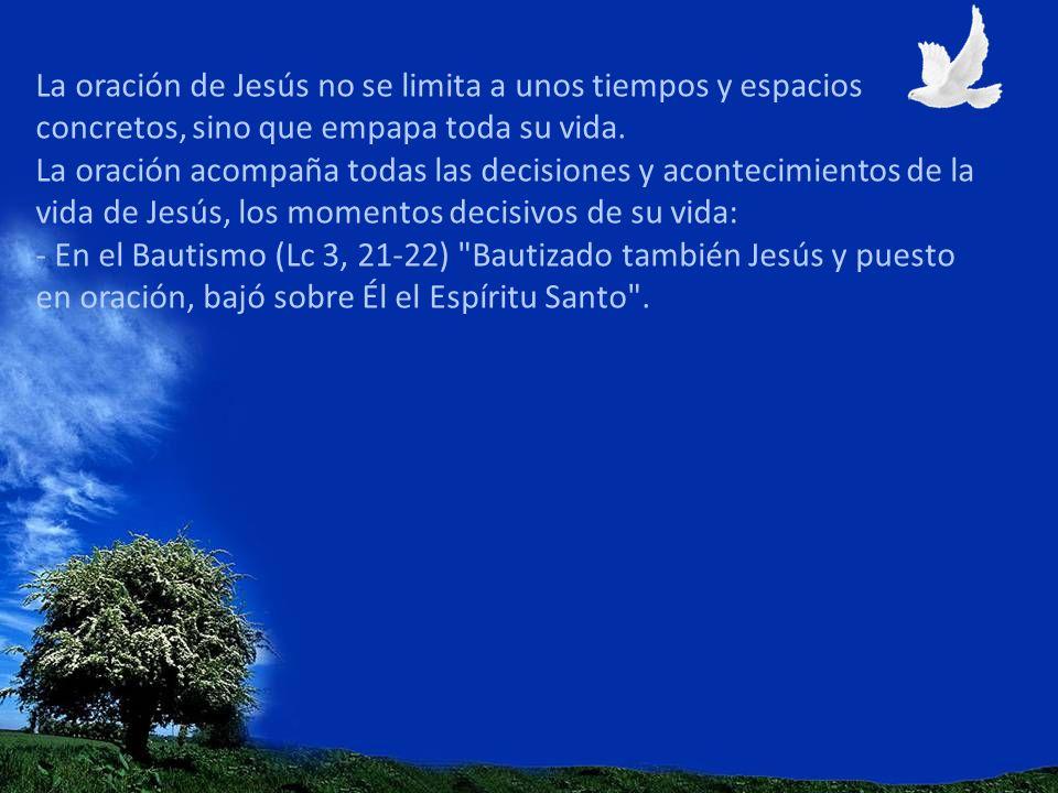 La oración de Jesús no se limita a unos tiempos y espacios concretos, sino que empapa toda su vida. La oración acompaña todas las decisiones y acontec