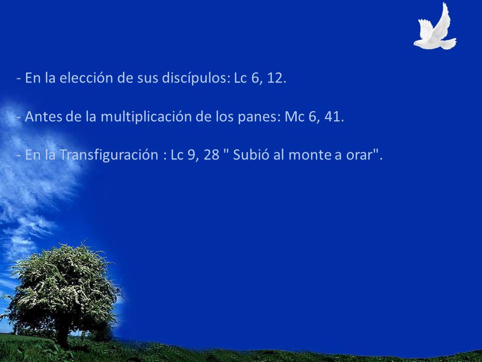 - En la elección de sus discípulos: Lc 6, 12. - Antes de la multiplicación de los panes: Mc 6, 41. - En la Transfiguración : Lc 9, 28