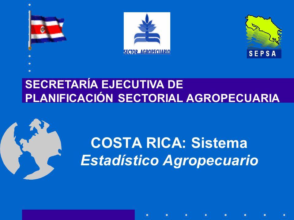 Contenido Estructura organizacional del Sistema Estadístico Agropecuario Costarricense Tipo de datos producidos y métodos de recolección Serie de datos, difusión y acceso Factores de conversión