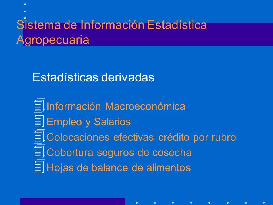 Estadísticas derivadas 4 Información Macroeconómica 4 Empleo y Salarios 4 Colocaciones efectivas crédito por rubro 4 Cobertura seguros de cosecha 4 Ho