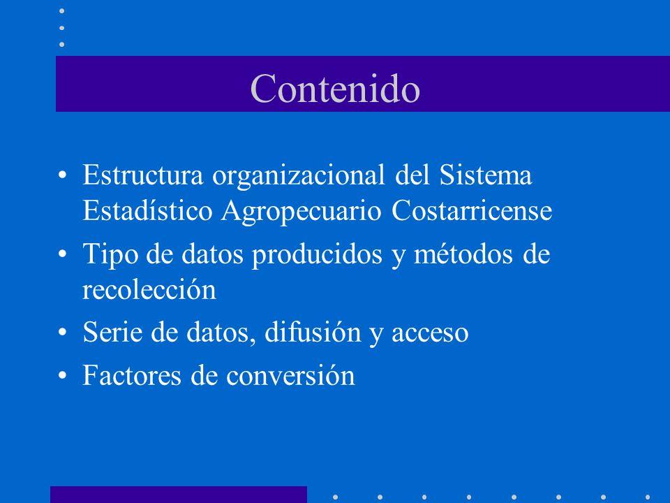 Contenido Estructura organizacional del Sistema Estadístico Agropecuario Costarricense Tipo de datos producidos y métodos de recolección Serie de dato