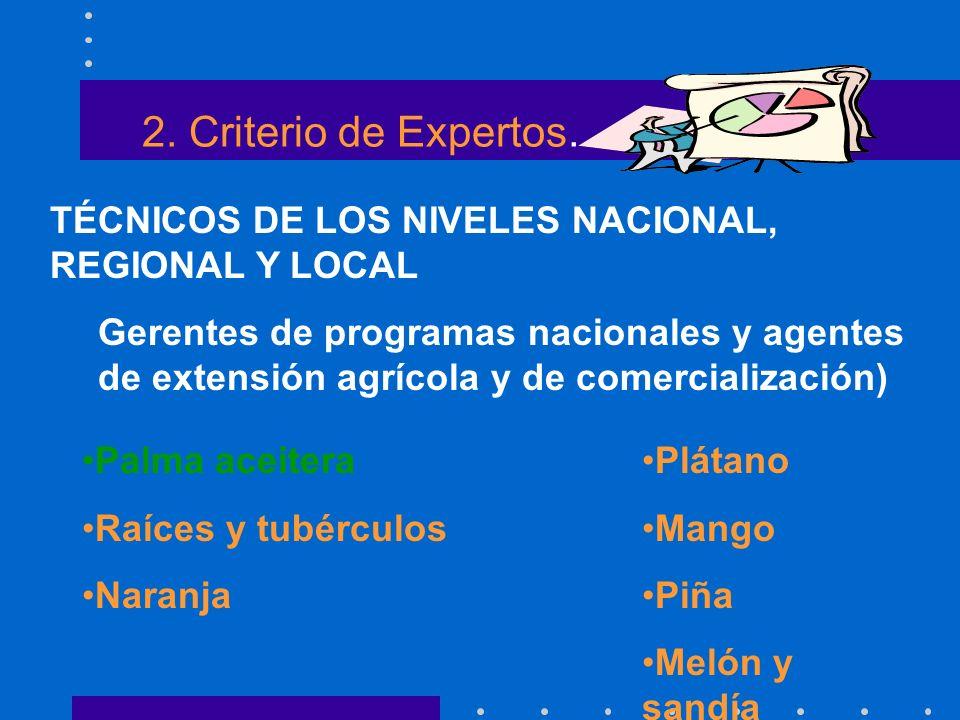 2. Criterio de Expertos. TÉCNICOS DE LOS NIVELES NACIONAL, REGIONAL Y LOCAL Gerentes de programas nacionales y agentes de extensión agrícola y de come
