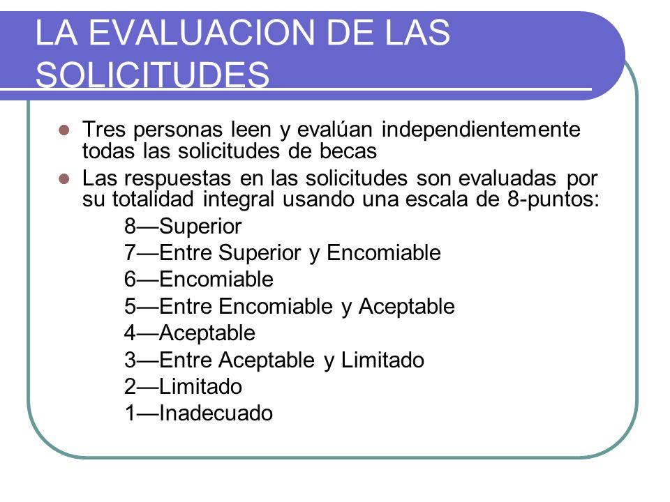 LA EVALUACION DE LAS SOLICITUDES Tres personas leen y evalúan independientemente todas las solicitudes de becas Las respuestas en las solicitudes son evaluadas por su totalidad integral usando una escala de 8-puntos: 8Superior 7Entre Superior y Encomiable 6Encomiable 5Entre Encomiable y Aceptable 4Aceptable 3Entre Aceptable y Limitado 2Limitado 1Inadecuado