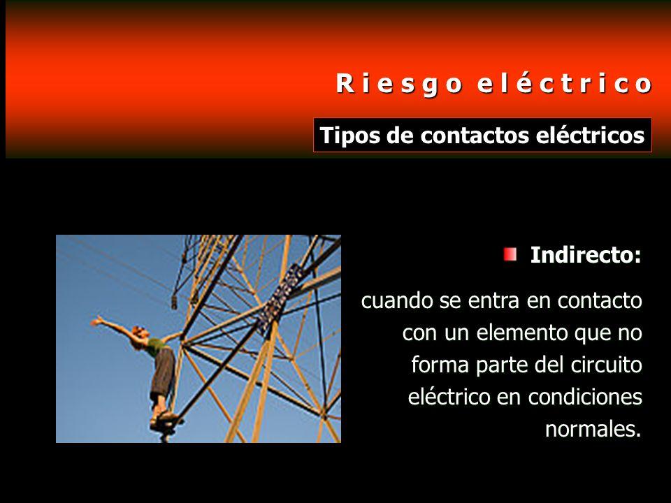R i e s g o e l é c t r i c o R i e s g o e l é c t r i c o Tipos de contactos eléctricos Indirecto: cuando se entra en contacto con un elemento que n