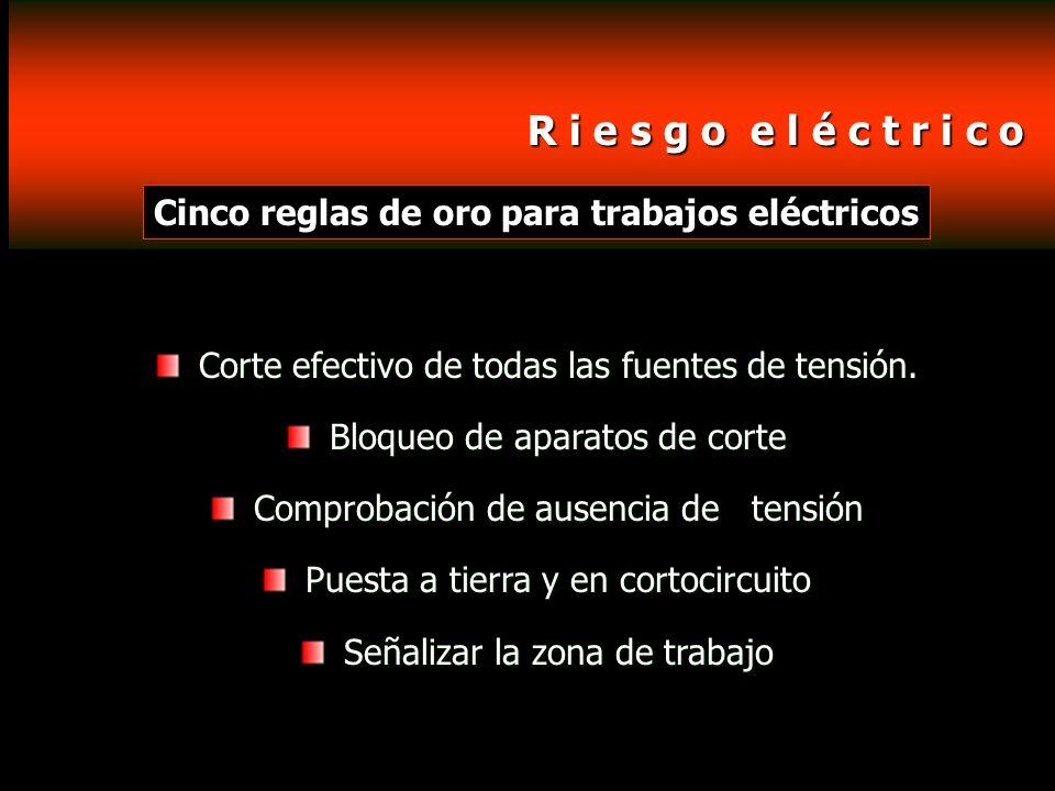 R i e s g o e l é c t r i c o R i e s g o e l é c t r i c o Cinco reglas de oro para trabajos eléctricos Corte efectivo de todas las fuentes de tensió
