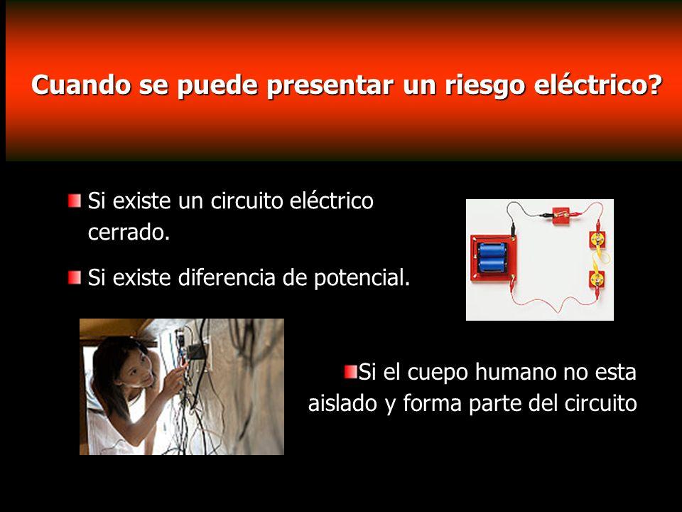 Cuando se puede presentar un riesgo eléctrico? Si existe un circuito eléctrico cerrado. Si existe diferencia de potencial. Si el cuepo humano no esta