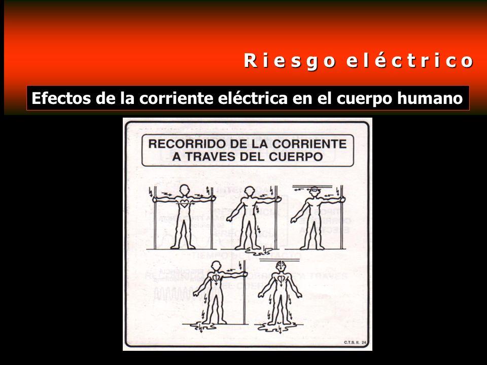 R i e s g o e l é c t r i c o R i e s g o e l é c t r i c o Efectos de la corriente eléctrica en el cuerpo humano