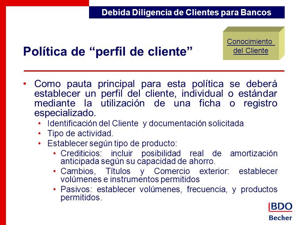 Como pauta principal para esta política se deberá establecer un perfil del cliente, individual o estándar mediante la utilización de una ficha o regis