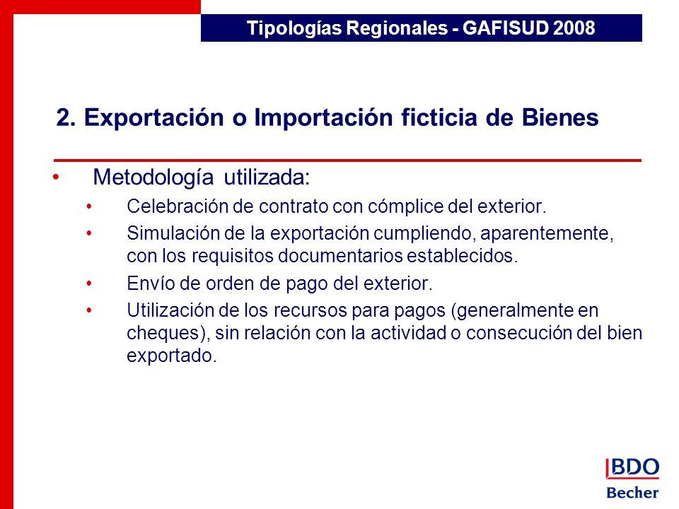 2. Exportación o Importación ficticia de Bienes Tipologías Regionales - GAFISUD 2008 Metodología utilizada: Celebración de contrato con cómplice del e