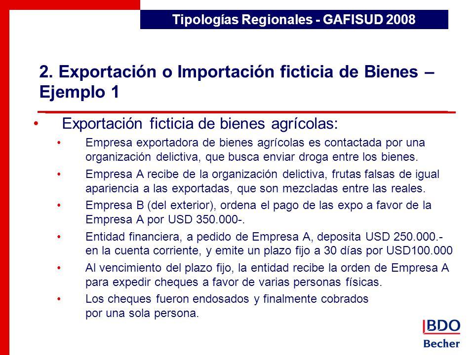 2. Exportación o Importación ficticia de Bienes – Ejemplo 1 Tipologías Regionales - GAFISUD 2008 Exportación ficticia de bienes agrícolas: Empresa exp