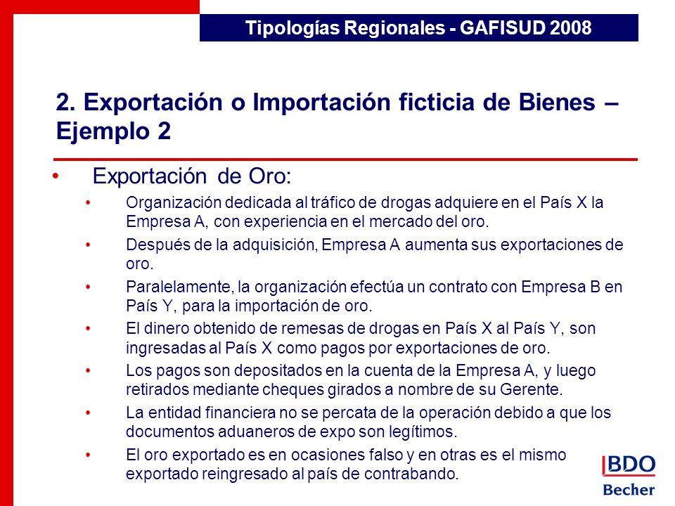 2. Exportación o Importación ficticia de Bienes – Ejemplo 2 Tipologías Regionales - GAFISUD 2008 Exportación de Oro: Organización dedicada al tráfico