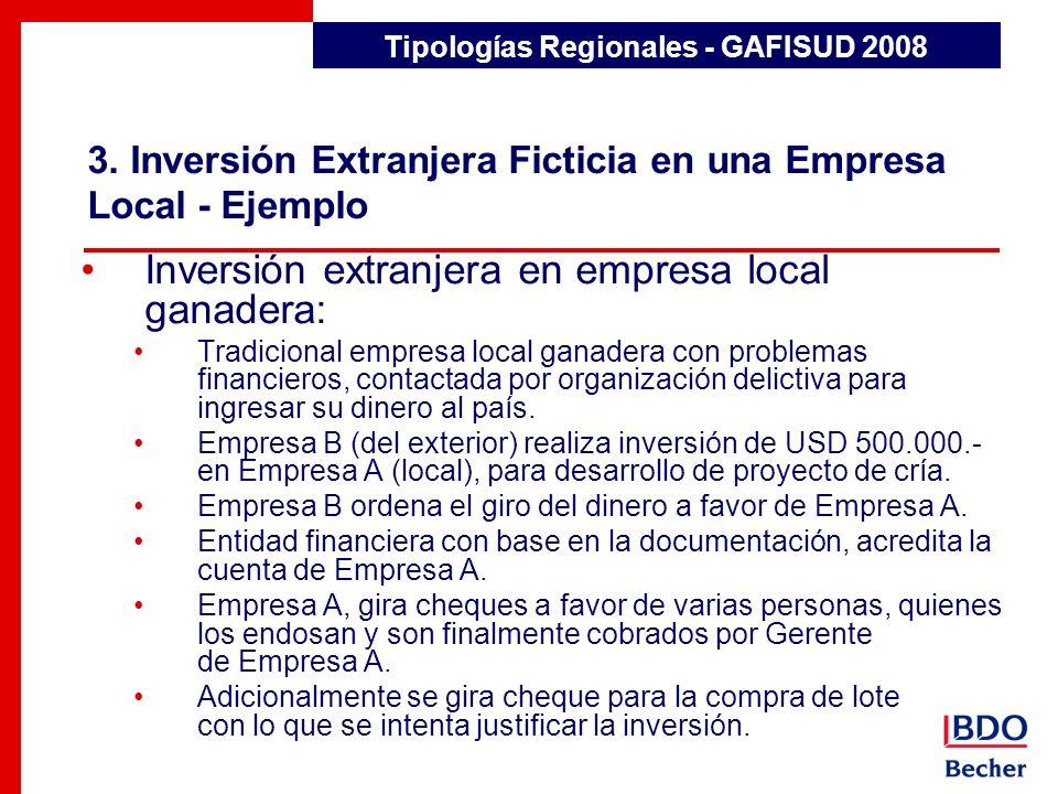 3. Inversión Extranjera Ficticia en una Empresa Local - Ejemplo Detección de Transacciones Inusuales Inversión extranjera en empresa local ganadera: T