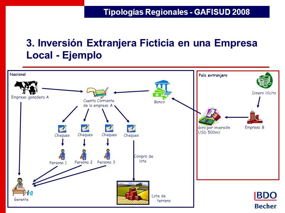3. Inversión Extranjera Ficticia en una Empresa Local - Ejemplo Detección de Transacciones Inusuales Tipologías Regionales - GAFISUD 2008 Nacional Paí