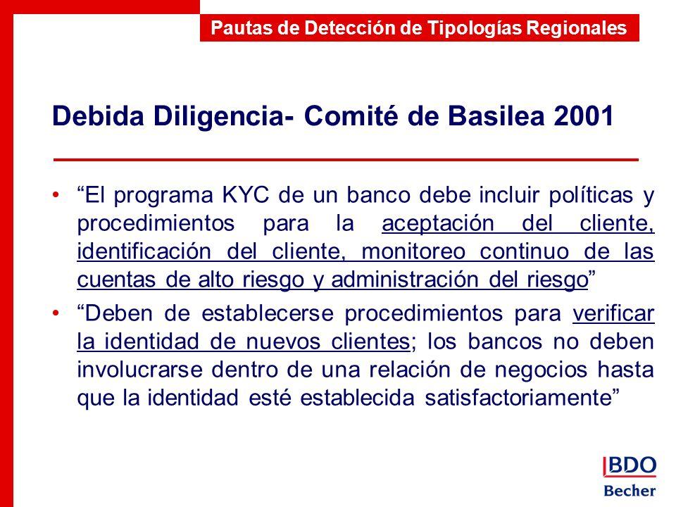 Debida Diligencia- Comité de Basilea 2001 Pautas de Detección de Tipologías Regionales El programa KYC de un banco debe incluir políticas y procedimie