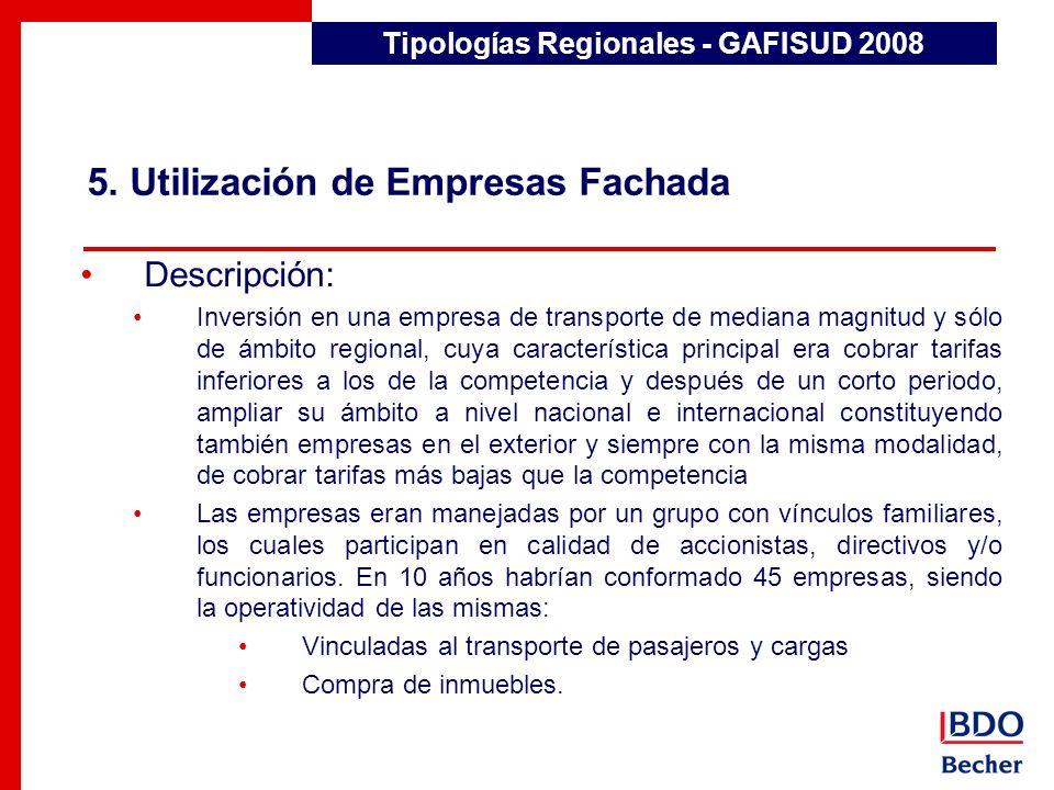 5. Utilización de Empresas Fachada Detección de Transacciones Inusuales Descripción: Inversión en una empresa de transporte de mediana magnitud y sólo