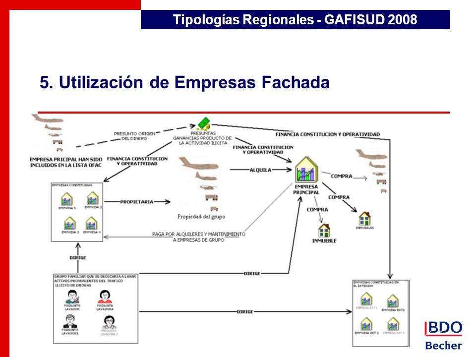 5. Utilización de Empresas Fachada Detección de Transacciones Inusuales Tipologías Regionales - GAFISUD 2008