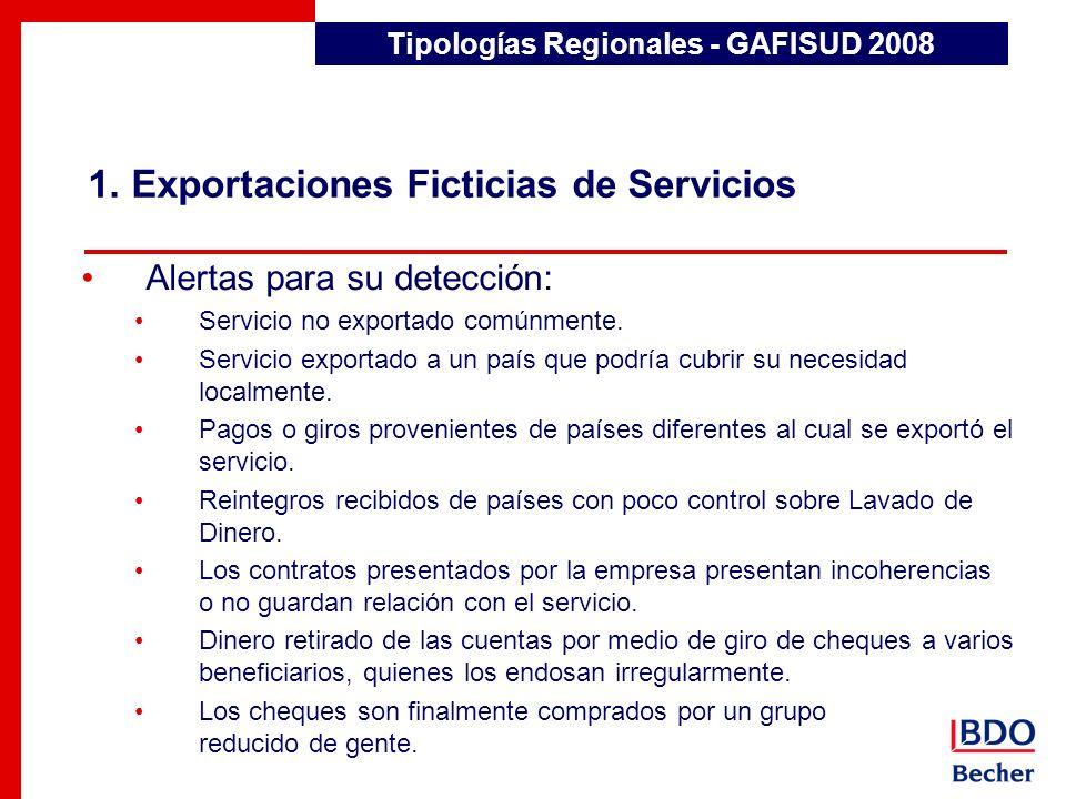 1. Exportaciones Ficticias de Servicios Tipologías Regionales - GAFISUD 2008 Alertas para su detección: Servicio no exportado comúnmente. Servicio exp
