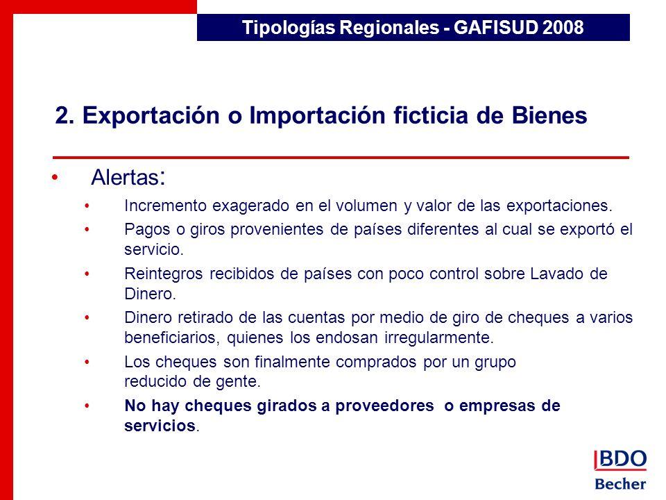 2. Exportación o Importación ficticia de Bienes Tipologías Regionales - GAFISUD 2008 Alertas : Incremento exagerado en el volumen y valor de las expor