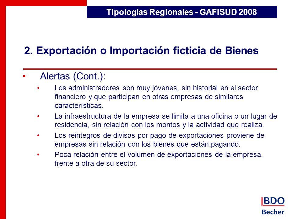 2. Exportación o Importación ficticia de Bienes Tipologías Regionales - GAFISUD 2008 Alertas (Cont.): Los administradores son muy jóvenes, sin histori