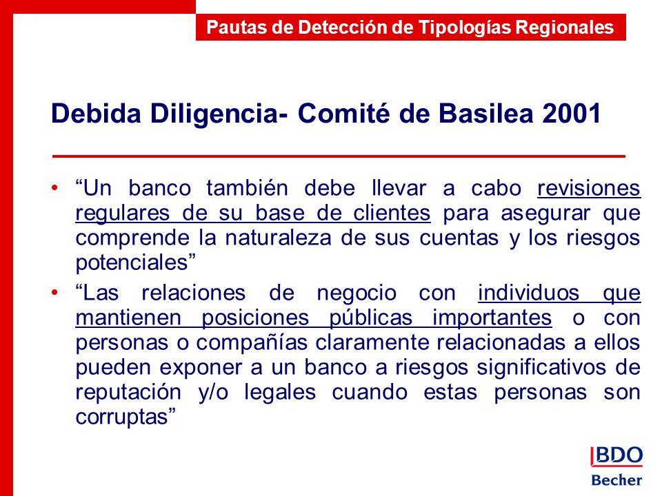 Debida Diligencia- Comité de Basilea 2001 Pautas de Detección de Tipologías Regionales Un banco también debe llevar a cabo revisiones regulares de su