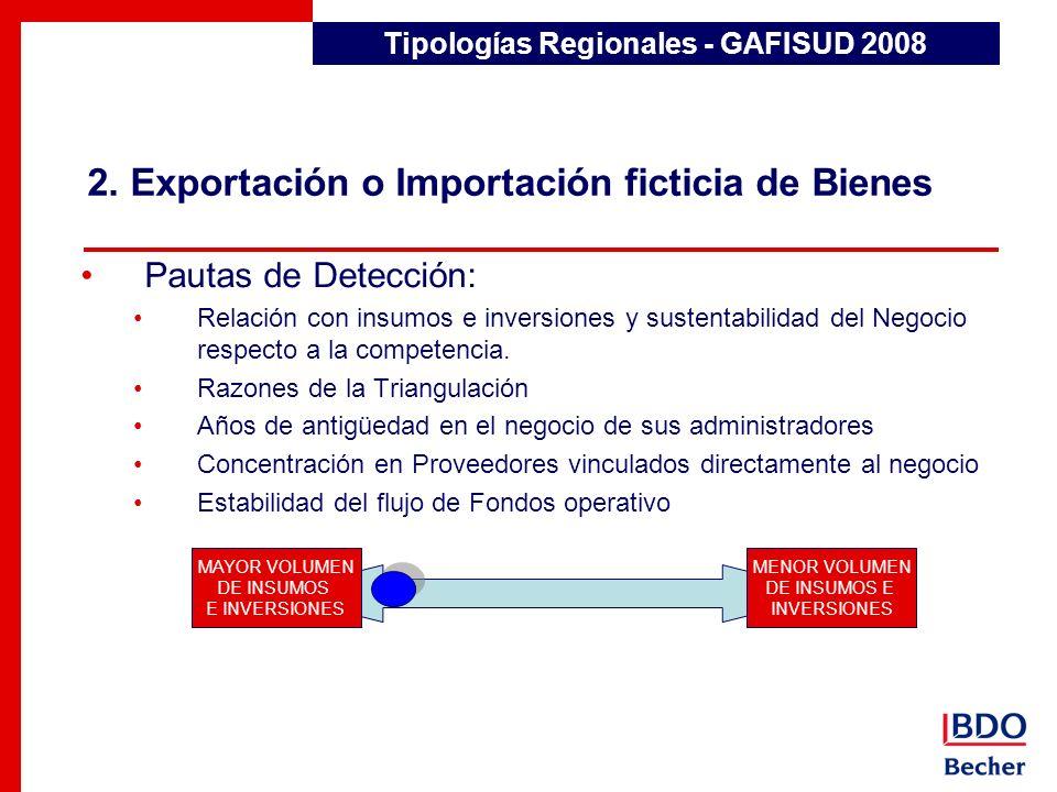 2. Exportación o Importación ficticia de Bienes Tipologías Regionales - GAFISUD 2008 Pautas de Detección: Relación con insumos e inversiones y sustent