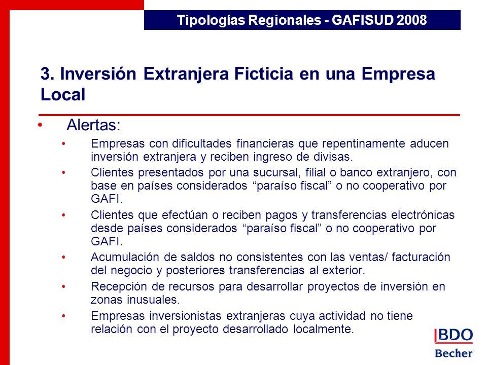 3. Inversión Extranjera Ficticia en una Empresa Local Detección de Transacciones Inusuales Alertas: Empresas con dificultades financieras que repentin