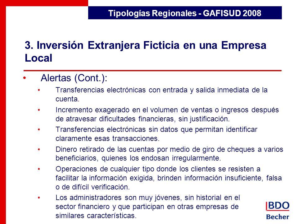 3. Inversión Extranjera Ficticia en una Empresa Local Detección de Transacciones Inusuales Alertas (Cont.): Transferencias electrónicas con entrada y