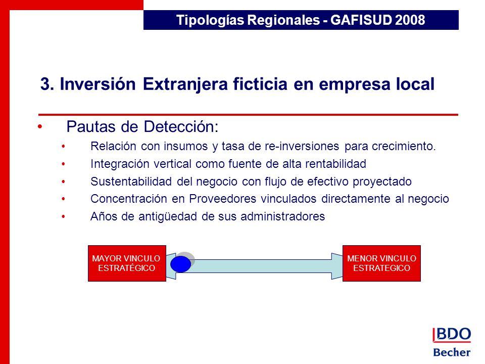 3. Inversión Extranjera ficticia en empresa local Tipologías Regionales - GAFISUD 2008 Pautas de Detección: Relación con insumos y tasa de re-inversio