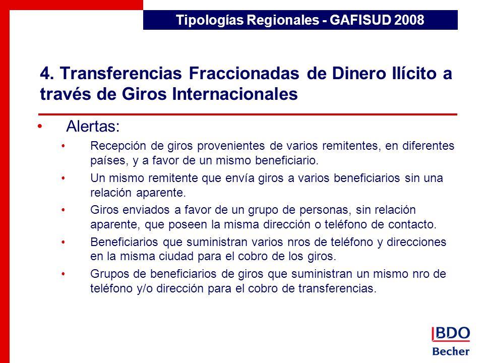 4. Transferencias Fraccionadas de Dinero Ilícito a través de Giros Internacionales Detección de Transacciones Inusuales Alertas: Recepción de giros pr