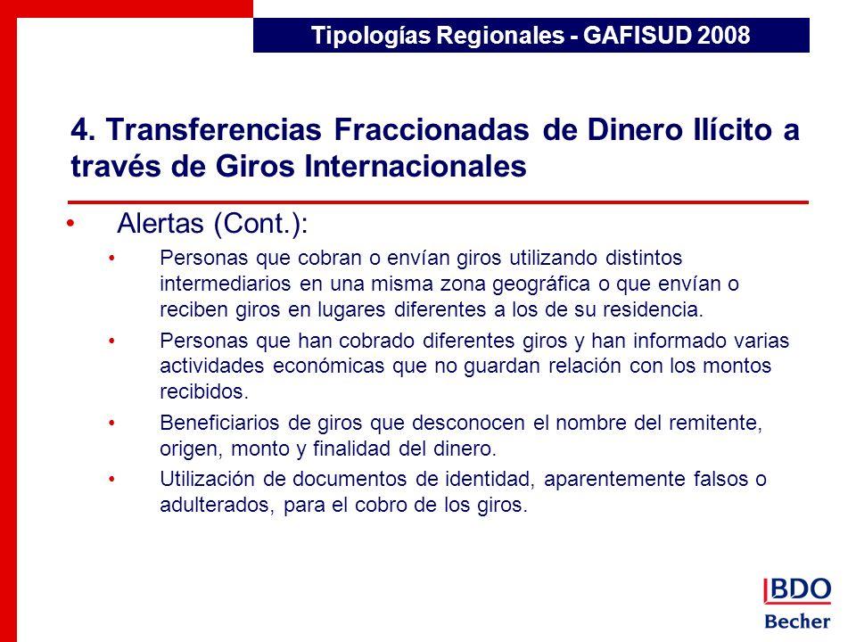 4. Transferencias Fraccionadas de Dinero Ilícito a través de Giros Internacionales Detección de Transacciones Inusuales Alertas (Cont.): Personas que