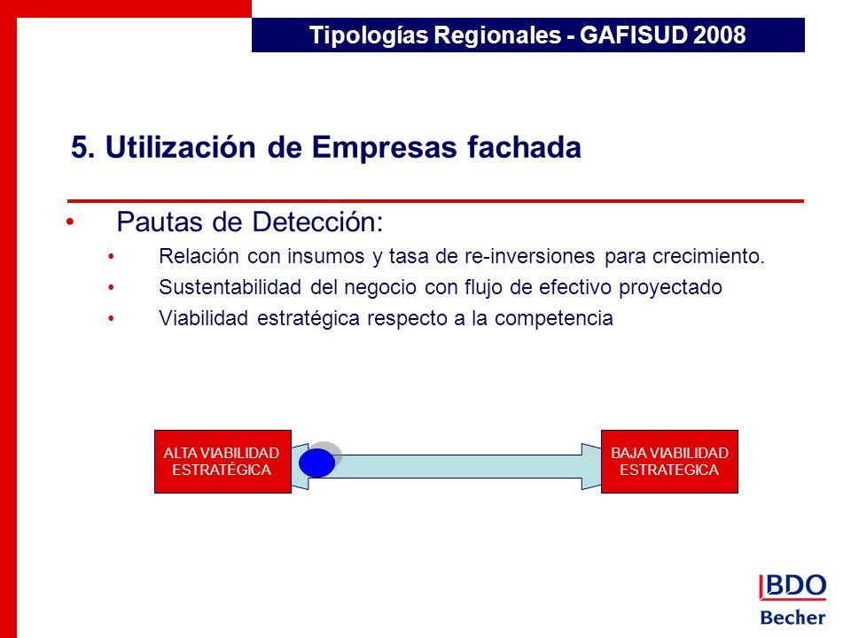 5. Utilización de Empresas fachada Tipologías Regionales - GAFISUD 2008 Pautas de Detección: Relación con insumos y tasa de re-inversiones para crecim