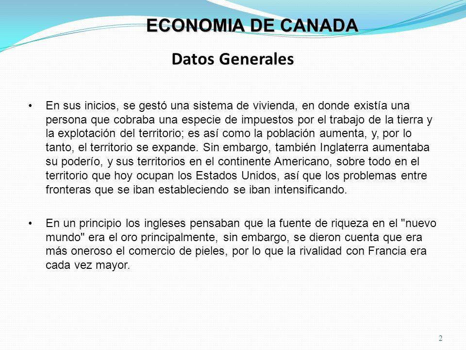 Datos Generales 2 ECONOMIA DE CANADA En sus inicios, se gestó una sistema de vivienda, en donde existía una persona que cobraba una especie de impuest