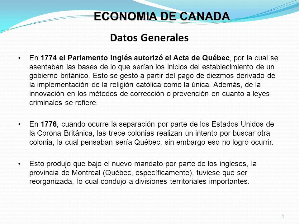 Datos Generales 4 ECONOMIA DE CANADA En 1774 el Parlamento Inglés autorizó el Acta de Québec, por la cual se asentaban las bases de lo que serían los