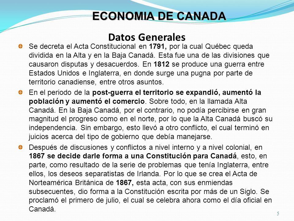 Datos Generales 5 ECONOMIA DE CANADA Se decreta el Acta Constitucional en 1791, por la cual Québec queda dividida en la Alta y en la Baja Canadá. Esta