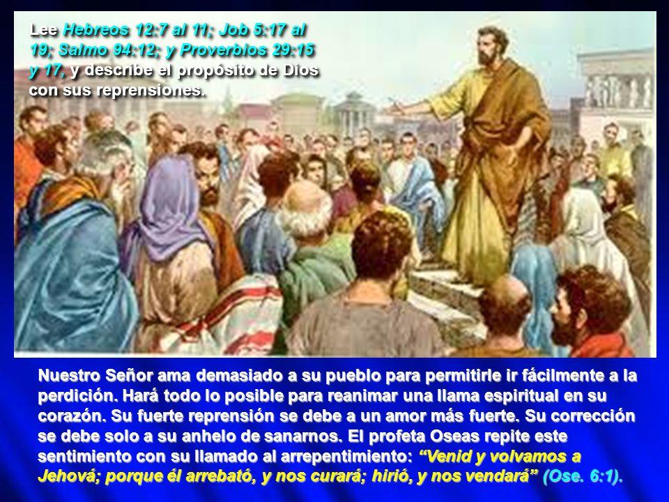 Lee Hebreos 12:7 al 11; Job 5:17 al 19; Salmo 94:12; y Proverbios 29:15 y 17, y describe el propósito de Dios con sus reprensiones. Nuestro Señor ama