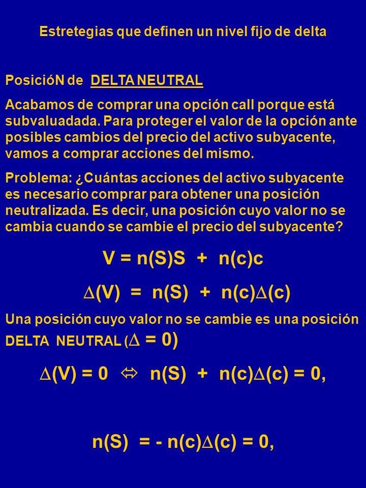 EJEMPLO: (c) = 0,64 (p) = - 0,36. Un STRADDLE comprado tiene un delta de: 0,64 + (- 0,36) = 0,28. Una estrategia (STRIP)en la que compramos dos de las