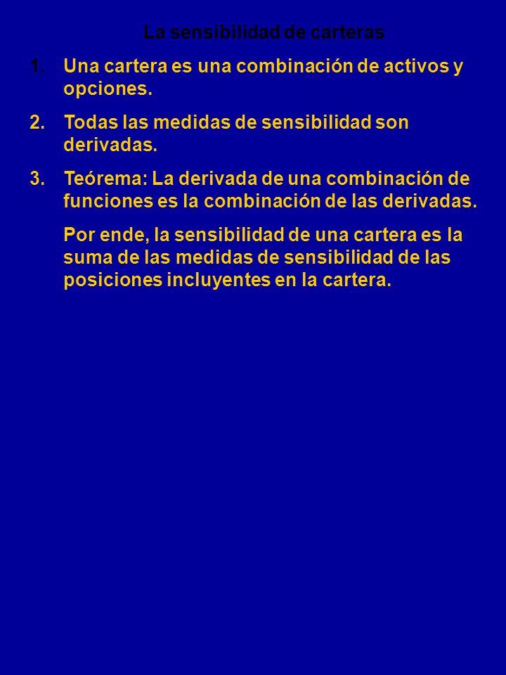 RESUMEN DE LOS GRIEGOS PosiciónDelta Gamma VegaThetaRho S comprado 1 0 0 0 0 S vendido - 0 0 0 0 C comprada + + + - + C vendida - - - + - P comprada -