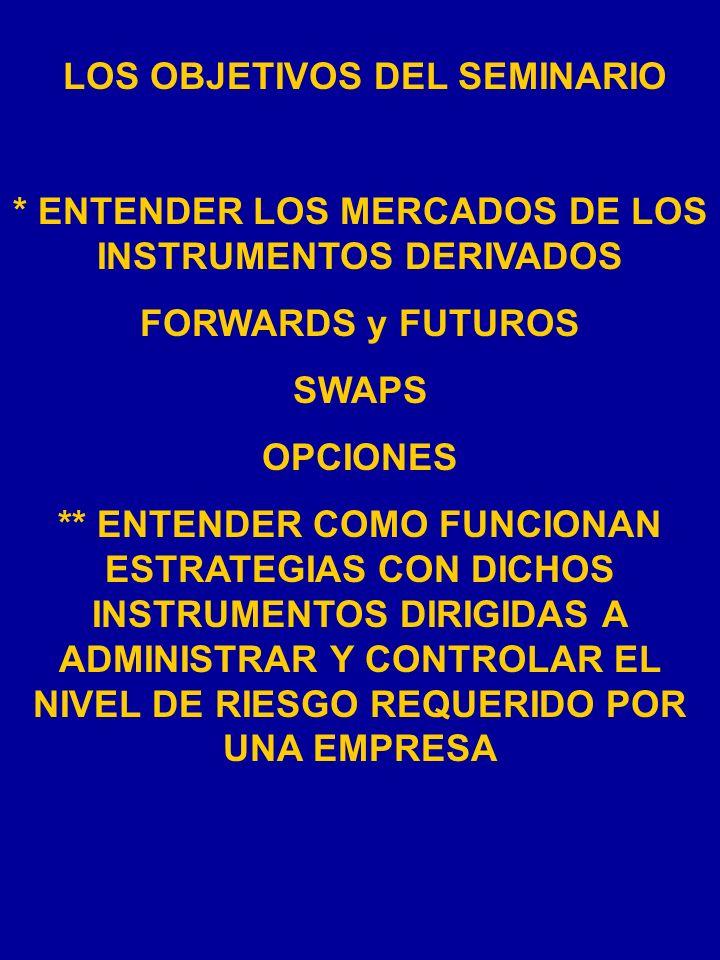 LOS OBJETIVOS DEL SEMINARIO * ENTENDER LOS MERCADOS DE LOS INSTRUMENTOS DERIVADOS FORWARDS y FUTUROS SWAPS OPCIONES ** ENTENDER COMO FUNCIONAN ESTRATEGIAS CON DICHOS INSTRUMENTOS DIRIGIDAS A ADMINISTRAR Y CONTROLAR EL NIVEL DE RIESGO REQUERIDO POR UNA EMPRESA