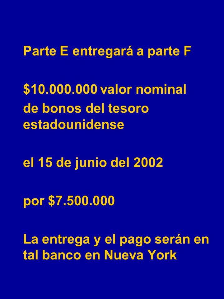 Parte C entregará a parte D $5.000.000US el 15 de marzo del 2002 a $550CH por 1USD. La entrega será en tal sucursal de tal banco en Santiago.
