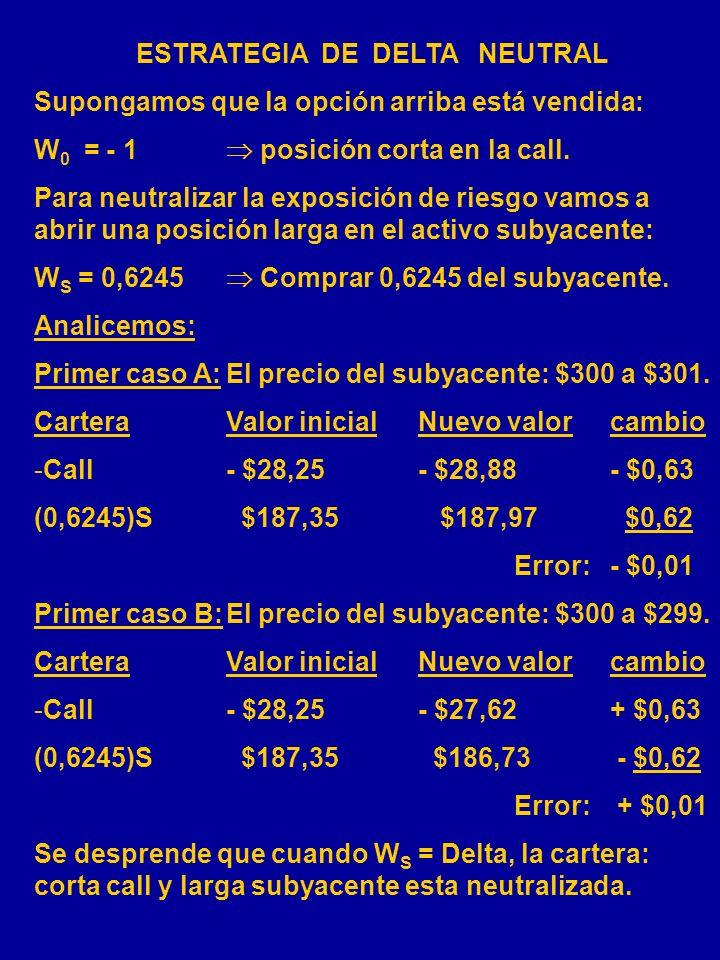 EJEMPLO: S = $300 X = $300 T = 365 días = 0,18 ( desviación estándar annual de 18%) r = 0,08 ( Tasa anual de interés sin riesgo 8%) d = 0,03 ( tasa an
