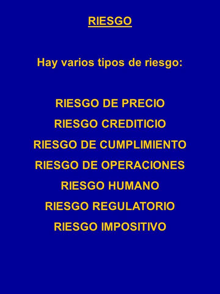 RIESGO Hay varios tipos de riesgo: RIESGO DE PRECIO RIESGO CREDITICIO RIESGO DE CUMPLIMIENTO RIESGO DE OPERACIONES RIESGO HUMANO RIESGO REGULATORIO RIESGO IMPOSITIVO