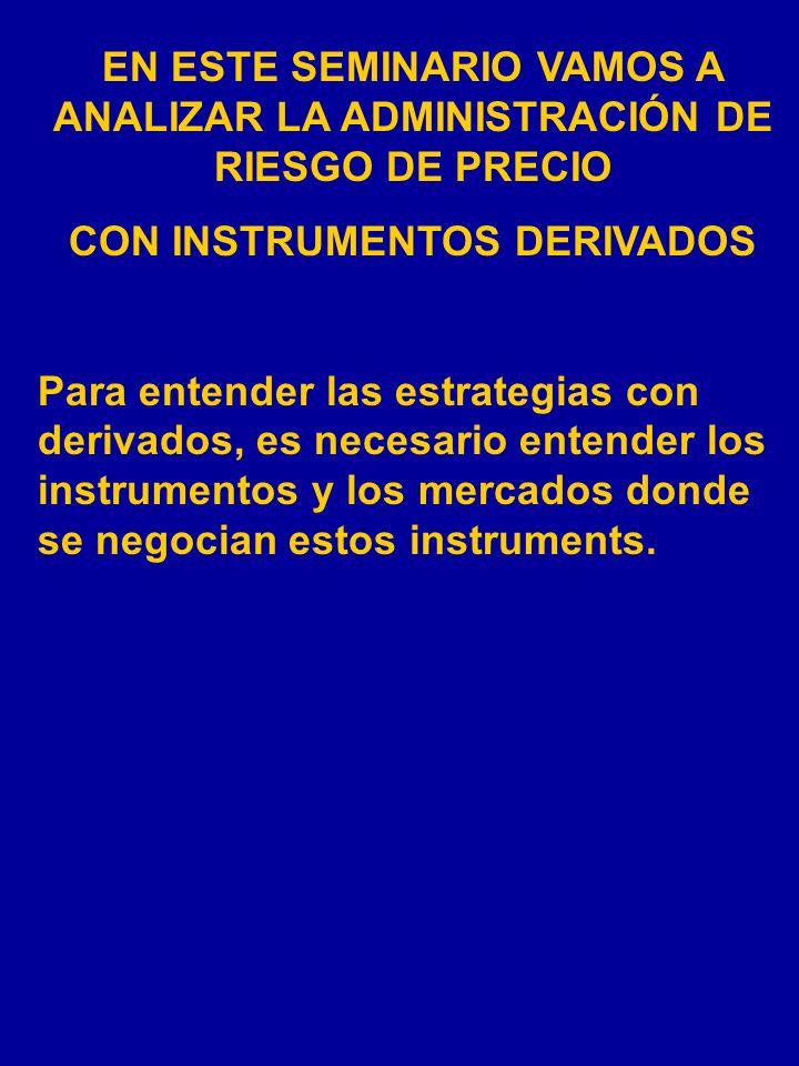 EN ESTE SEMINARIO VAMOS A ANALIZAR LA ADMINISTRACIÓN DE RIESGO DE PRECIO CON INSTRUMENTOS DERIVADOS Para entender las estrategias con derivados, es necesario entender los instrumentos y los mercados donde se negocian estos instruments.