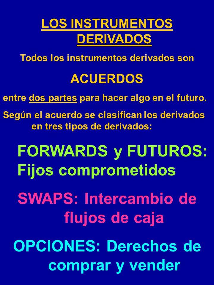 LOS INSTRUMENTOS DERIVADOS Todos los instrumentos derivados son ACUERDOS entre dos partes para hacer algo en el futuro.
