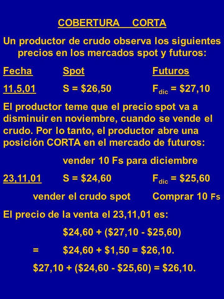EXISTEN DOS TIPOS DE COBERTURAS Cobertura larga: Abrir posición larga en el mercado de futuros con el fin de fijar el precio de compra del commodity e