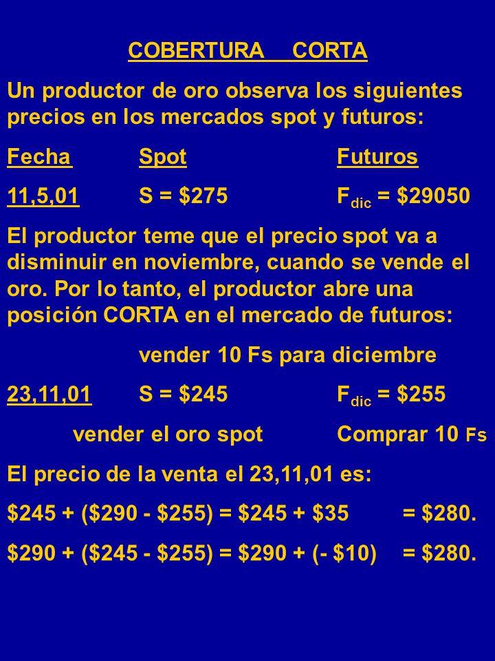 COBERTURA CORTA Un productor de crudo observa los siguientes precios en los mercados spot y futuros: FechaSpotFuturos 11,5,01S = $26,50F dic = $27,10